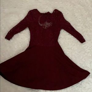 Maroon mid length dress with lace